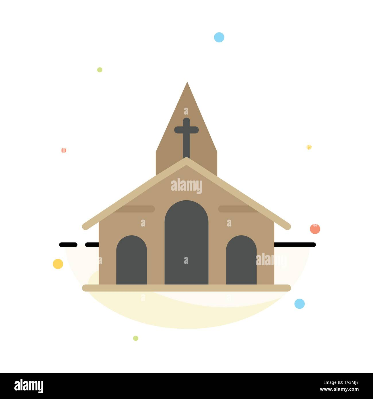 Building, Christmas, Church, Spring Abstract Flat Color Icon Template - Stock Image