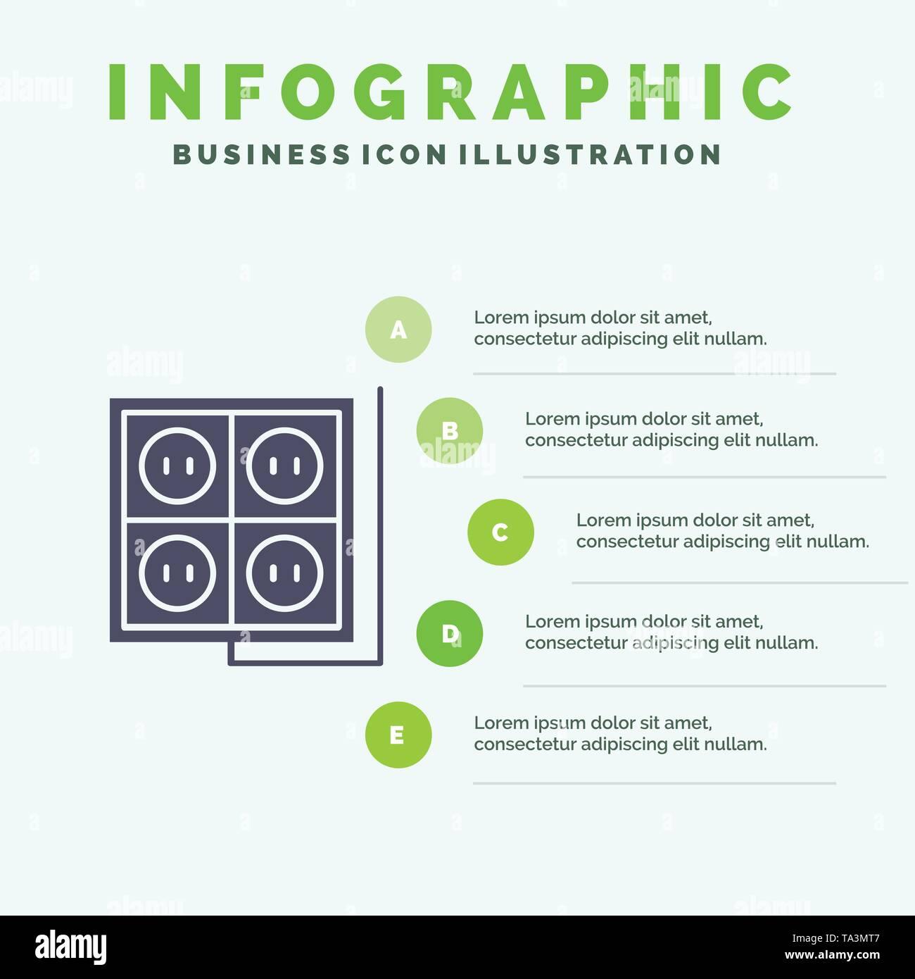 Building, Construction, Plug, Socket, Tool Solid Icon Infographics 5 Steps Presentation Background - Stock Image