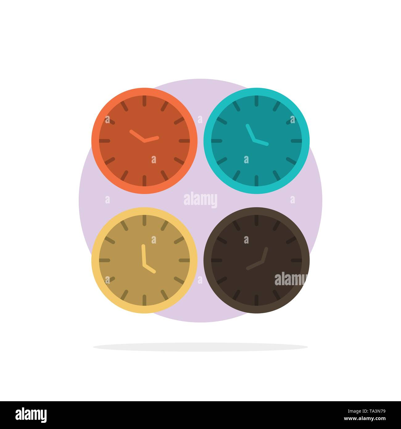 Clock, Business, Clocks, Office Clocks, Time Zone, Wall Clocks, World Time Abstract Circle Background Flat color Icon - Stock Image