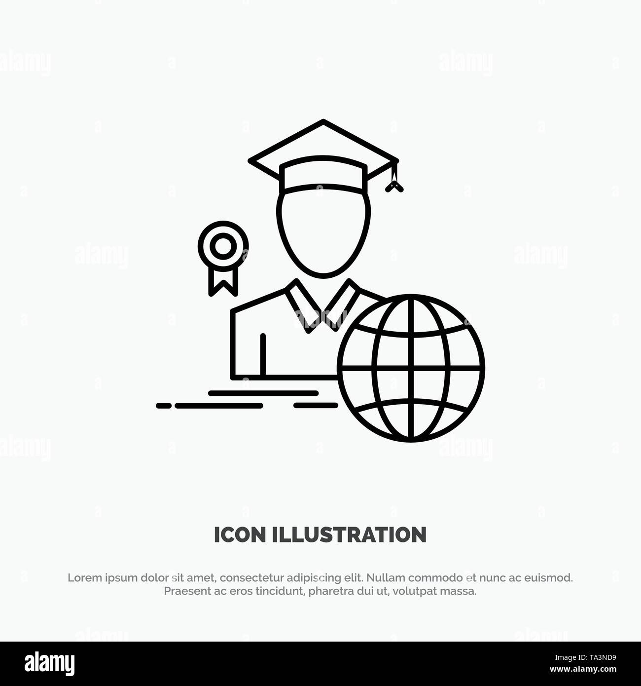 Graduation, Avatar, Graduate, Scholar Line Icon Vector - Stock Vector