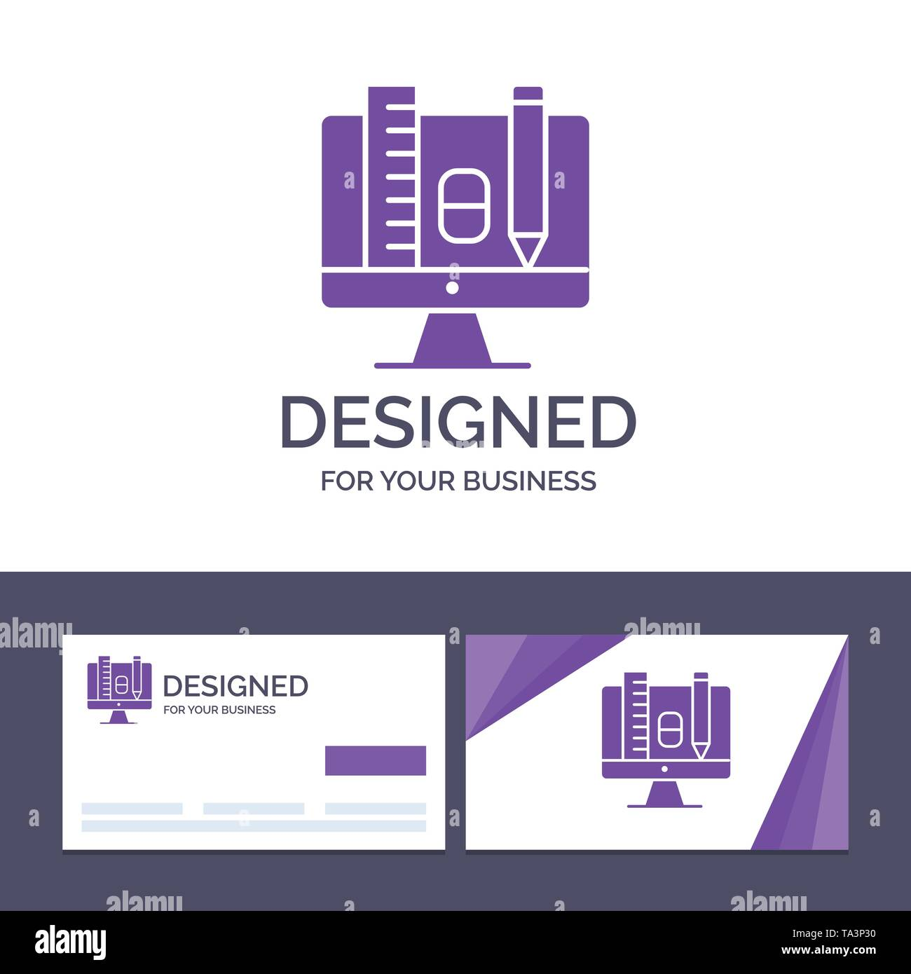 Creative Business Card and Logo template Computer, Education, Scale, Pencil Vector Illustration - Stock Image