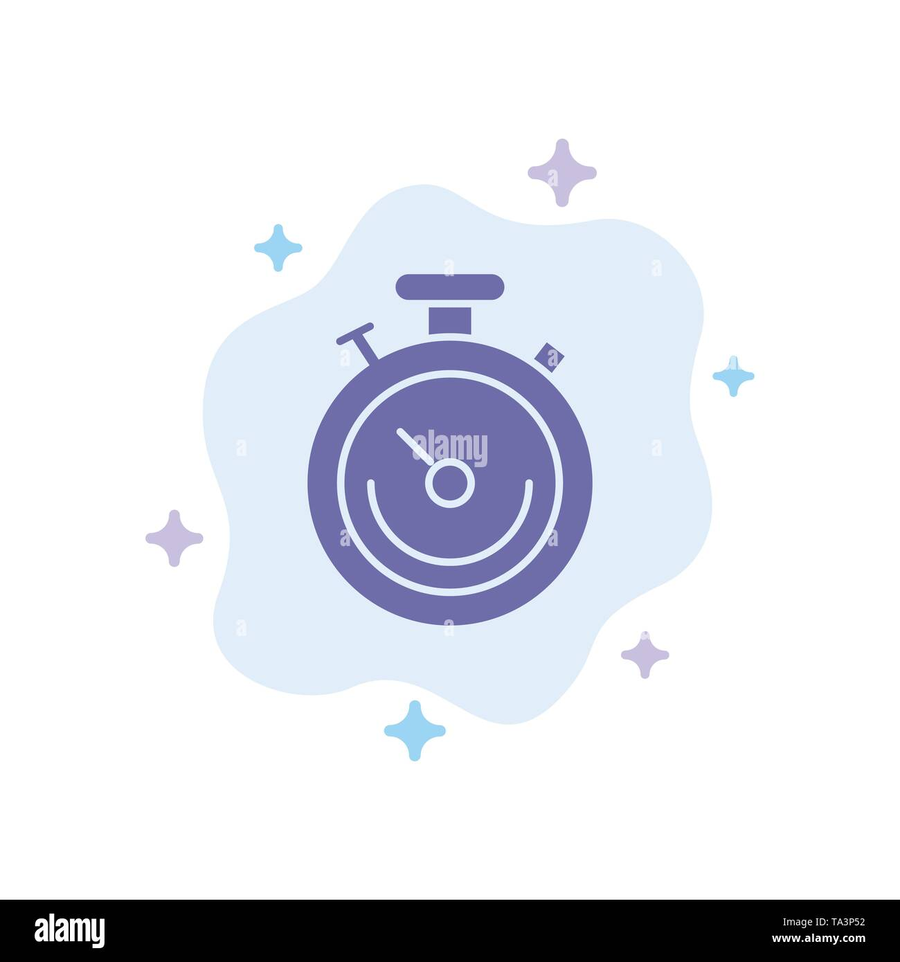 Clock, Sports, Stopwatch, Time Blue Icon on Abstract Cloud Background - Stock Image