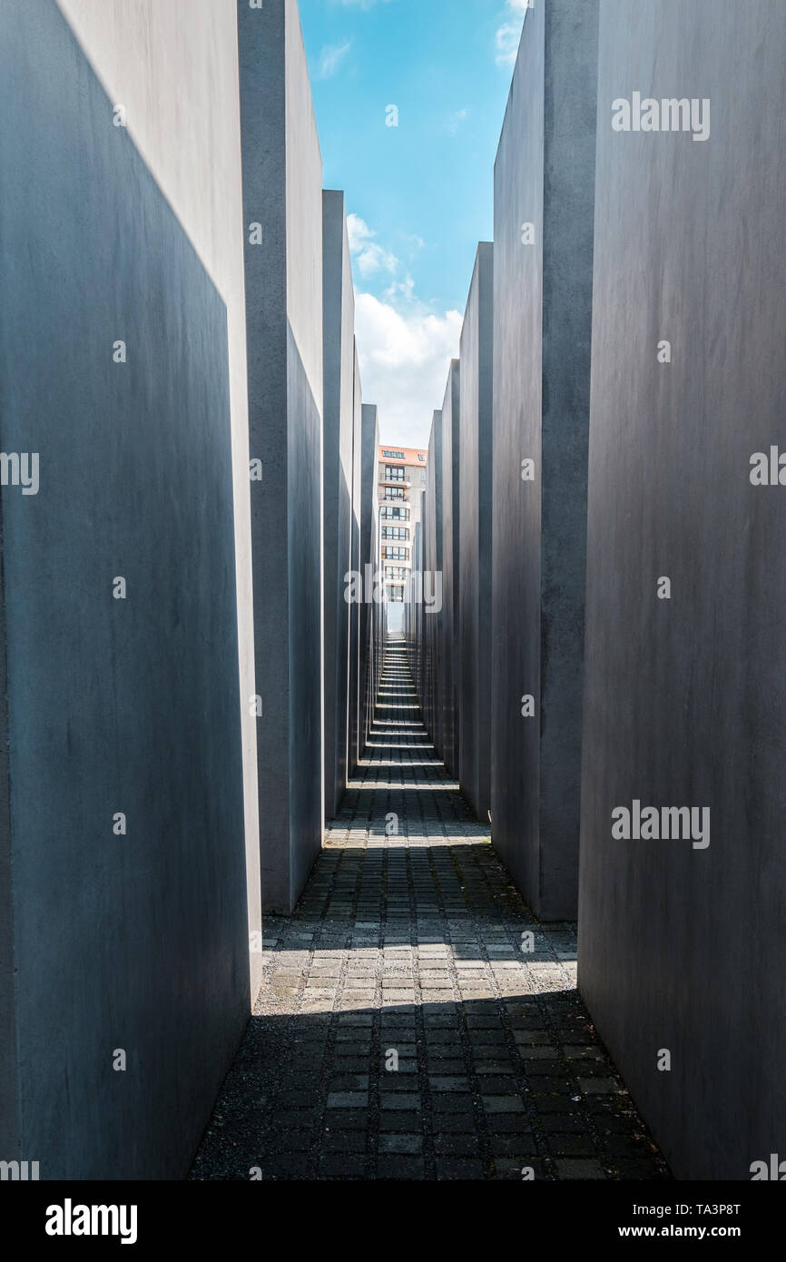 Berlin, Germany - May,  2019:  The Memorial to the murdered jews, a.k.a. the Holocaust memorial in Berlin, Germany - Stock Image