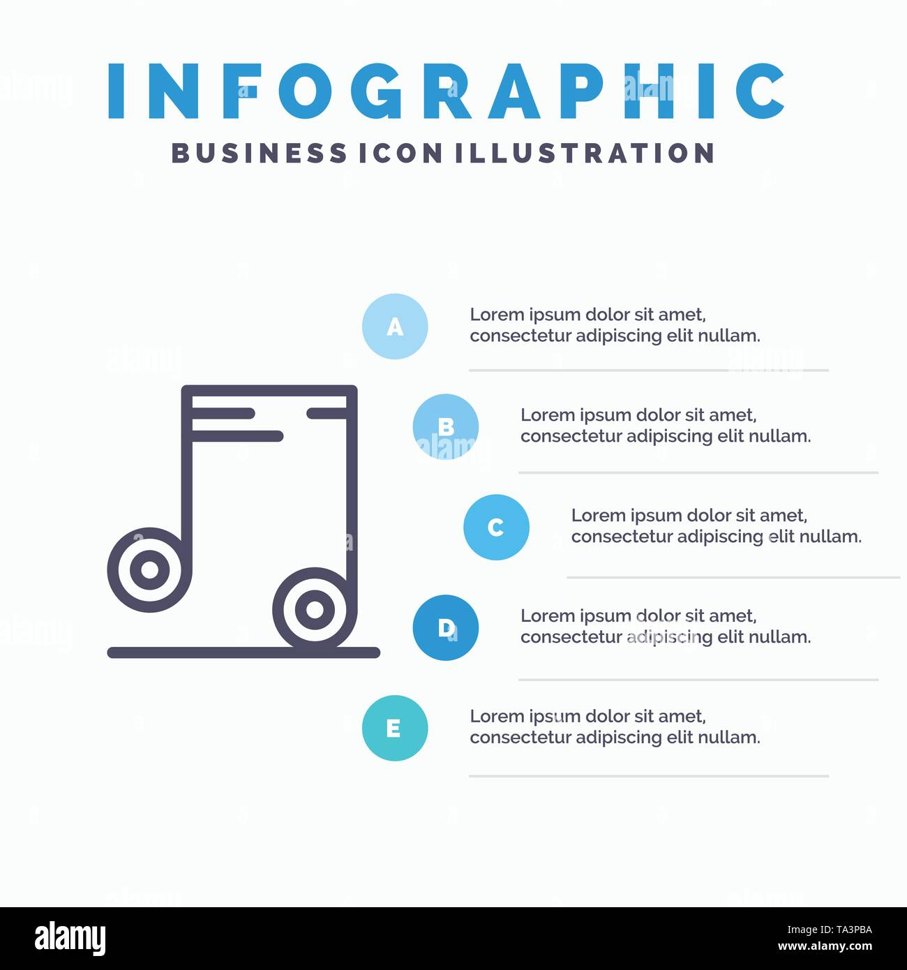 Music, Audio, School Line icon with 5 steps presentation infographics Background - Stock Image