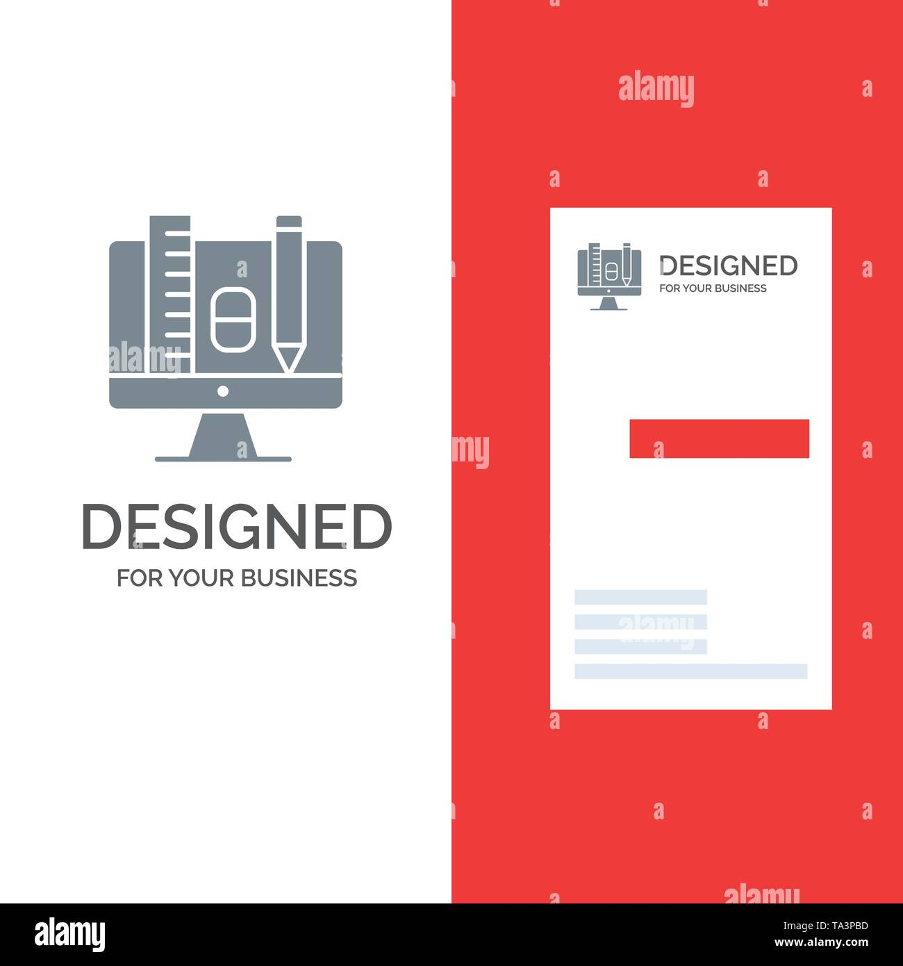 Computer, Education, Scale, Pencil Grey Logo Design and Business Card Template - Stock Image