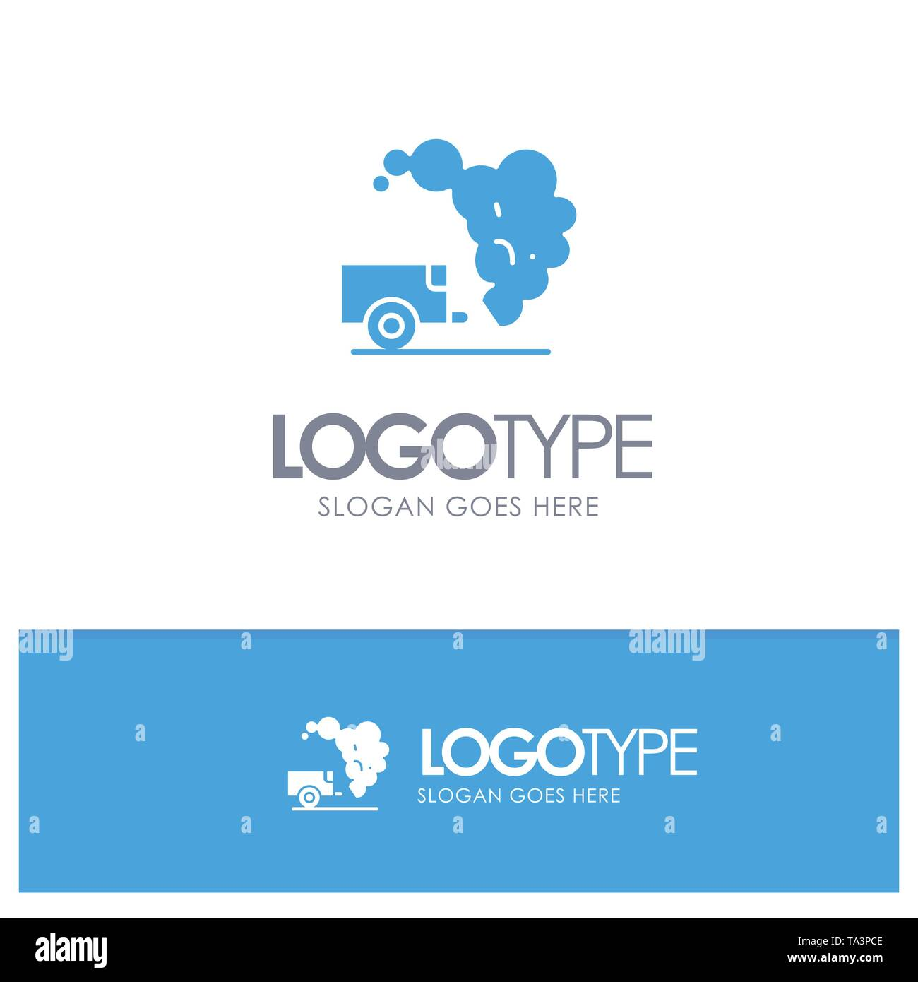 Dump, Environment, Garbage, Pollution Blue Solid Logo with place for tagline - Stock Image