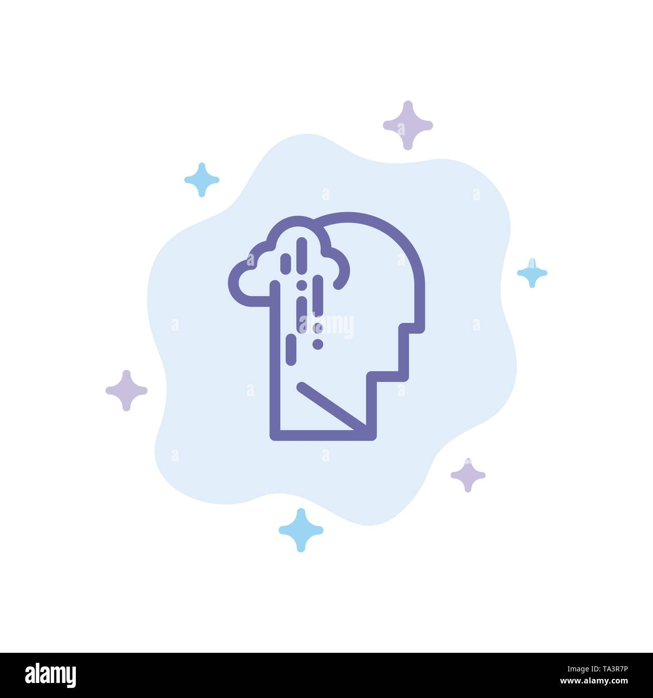 Depression, Grief, Human, Melancholy, Sad Blue Icon on Abstract Cloud Background - Stock Vector