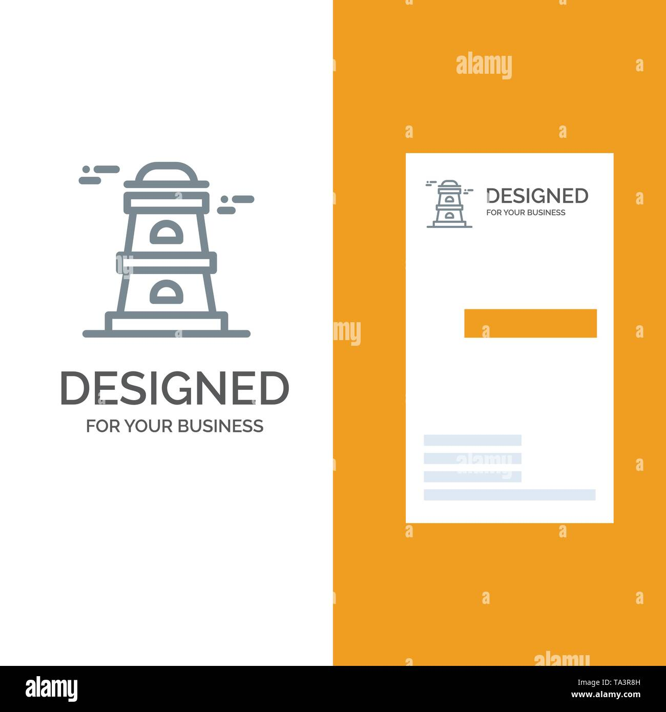 Observatory, Tower, Watchtower Grey Logo Design and Business Card Template - Stock Vector