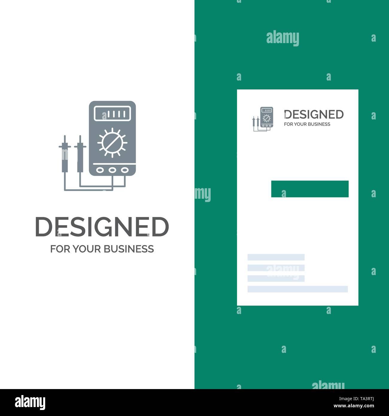 Voltmeter, Ampere, Watt, Digital, Tester Grey Logo Design and Business Card Template - Stock Image