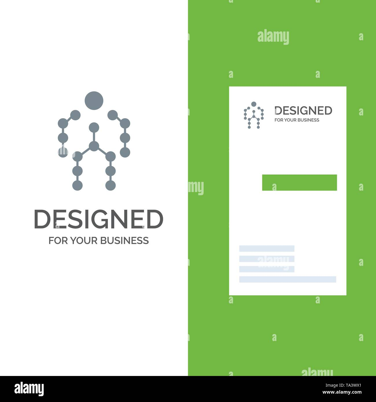 Action, Bones, Capture, Human, Motion Grey Logo Design and Business Card Template - Stock Image