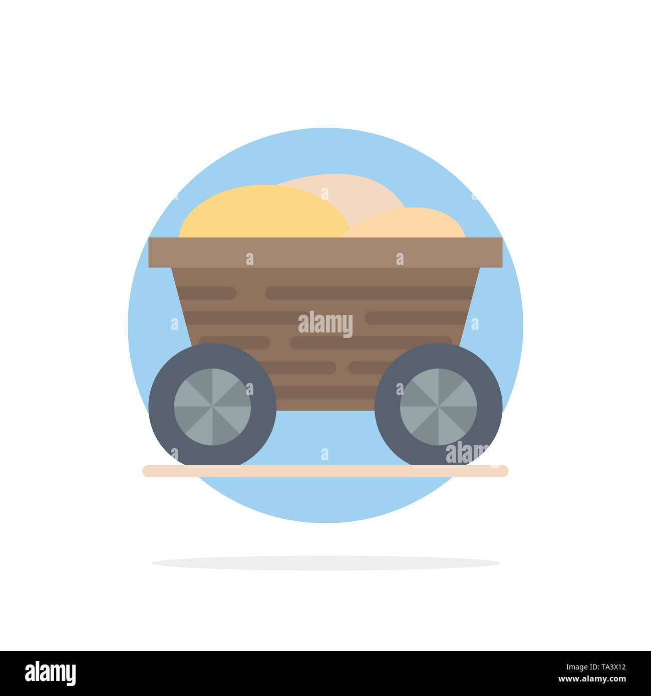 Trolley, Cart, Food, Bangladesh Abstract Circle Background Flat color Icon - Stock Image