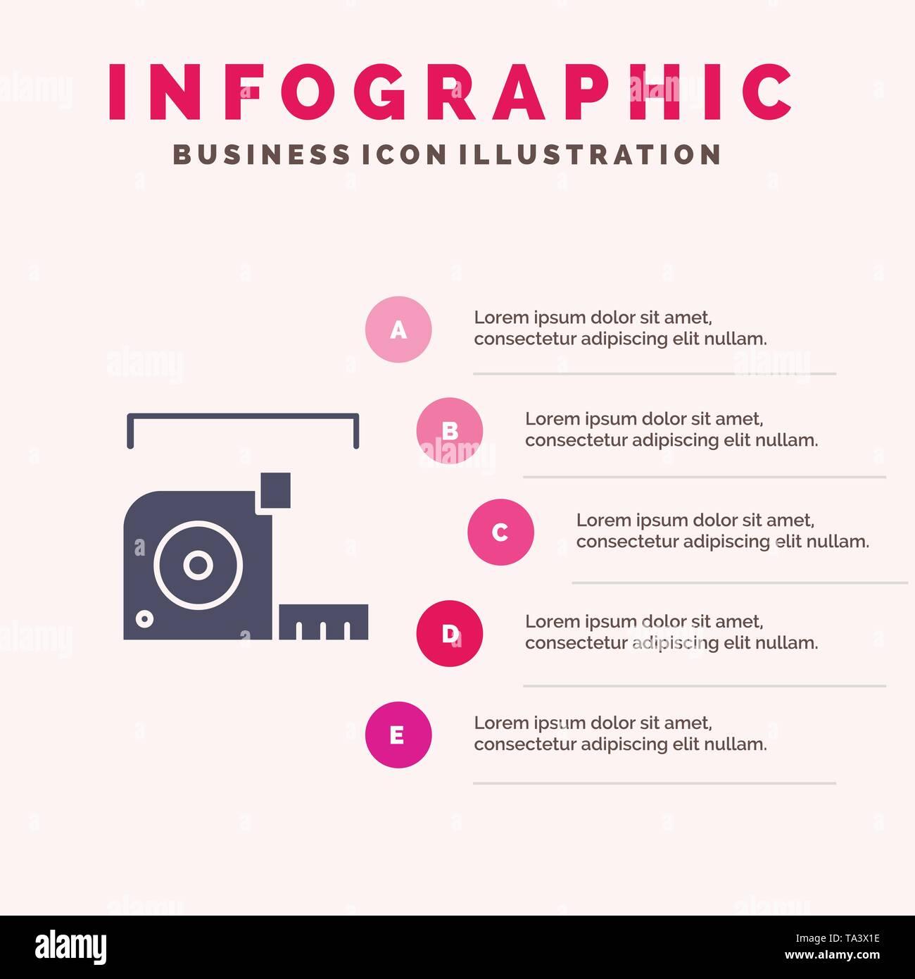 Measure, Measurement, Meter, Roulette, Ruler Solid Icon Infographics 5 Steps Presentation Background - Stock Image