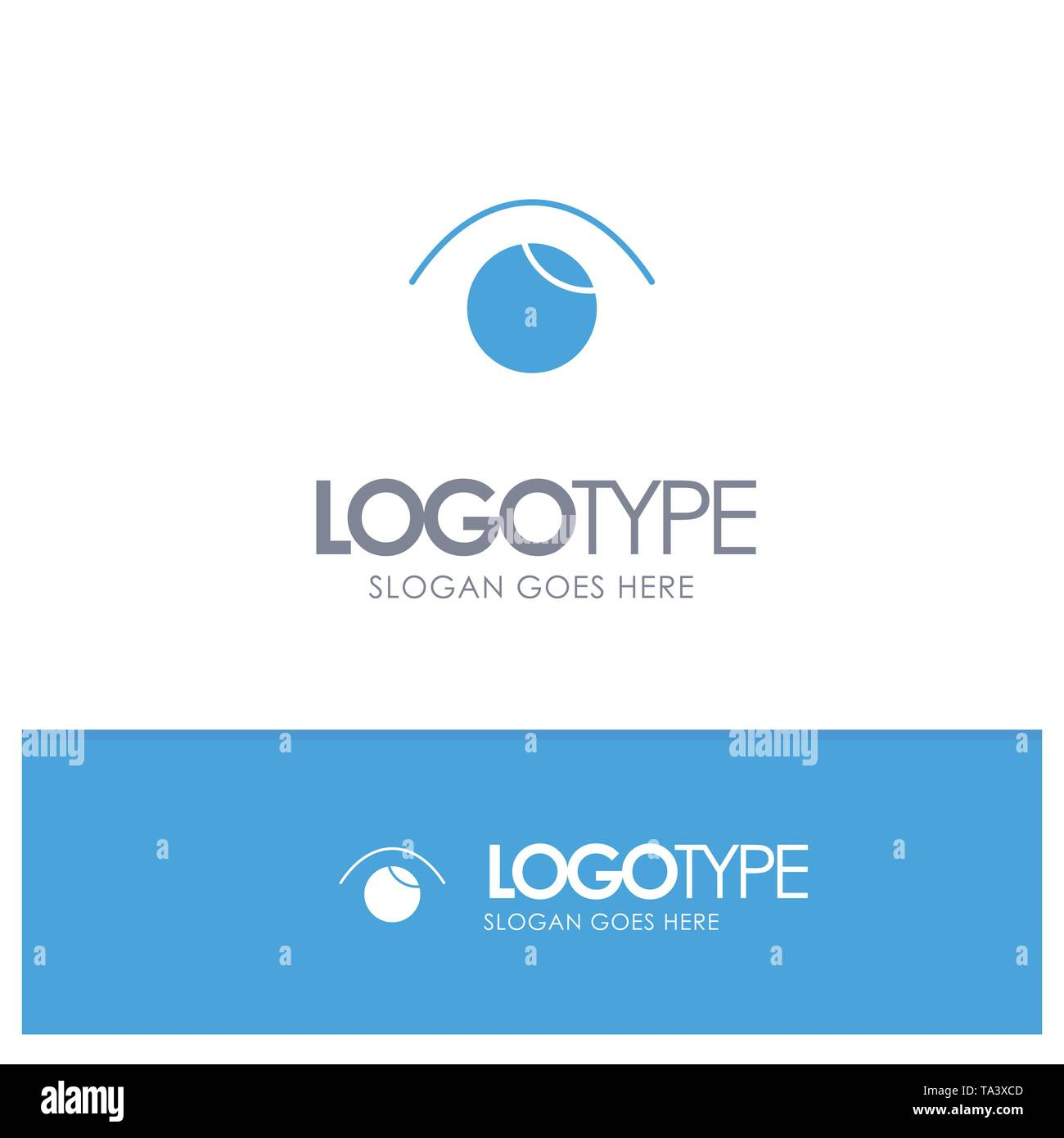 Eye, View, Watch, Twitter Blue Solid Logo with place for tagline - Stock Image