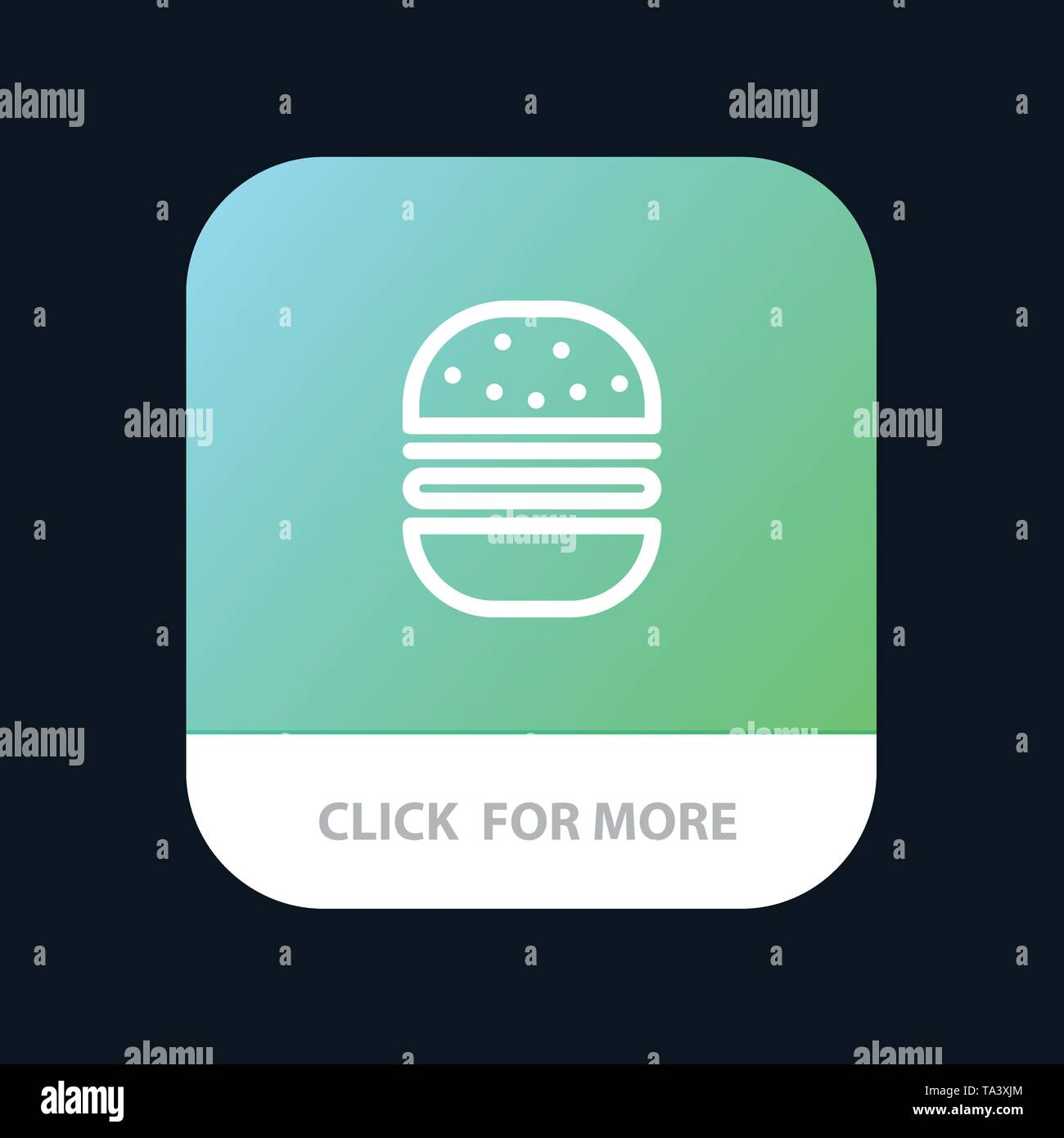 Burger, Fast food, Fast, Food Mobile App Button. Android and IOS Line Version - Stock Image