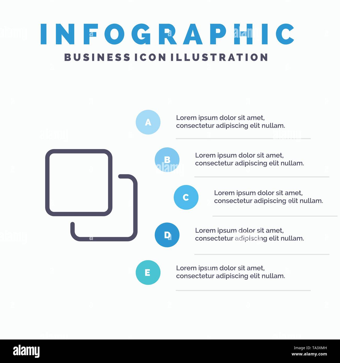 Four, Media, Quadruple, Stack Line icon with 5 steps presentation infographics Background - Stock Image