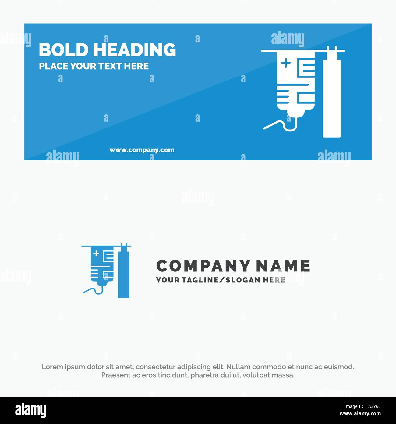 Drip, Hospital, Medical, Treatment SOlid Icon Website Banner and Business Logo Template - Stock Image