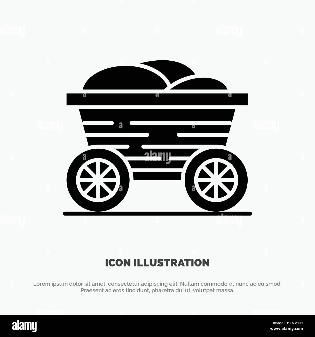 Trolley, Cart, Food, Bangladesh solid Glyph Icon vector - Stock Vector