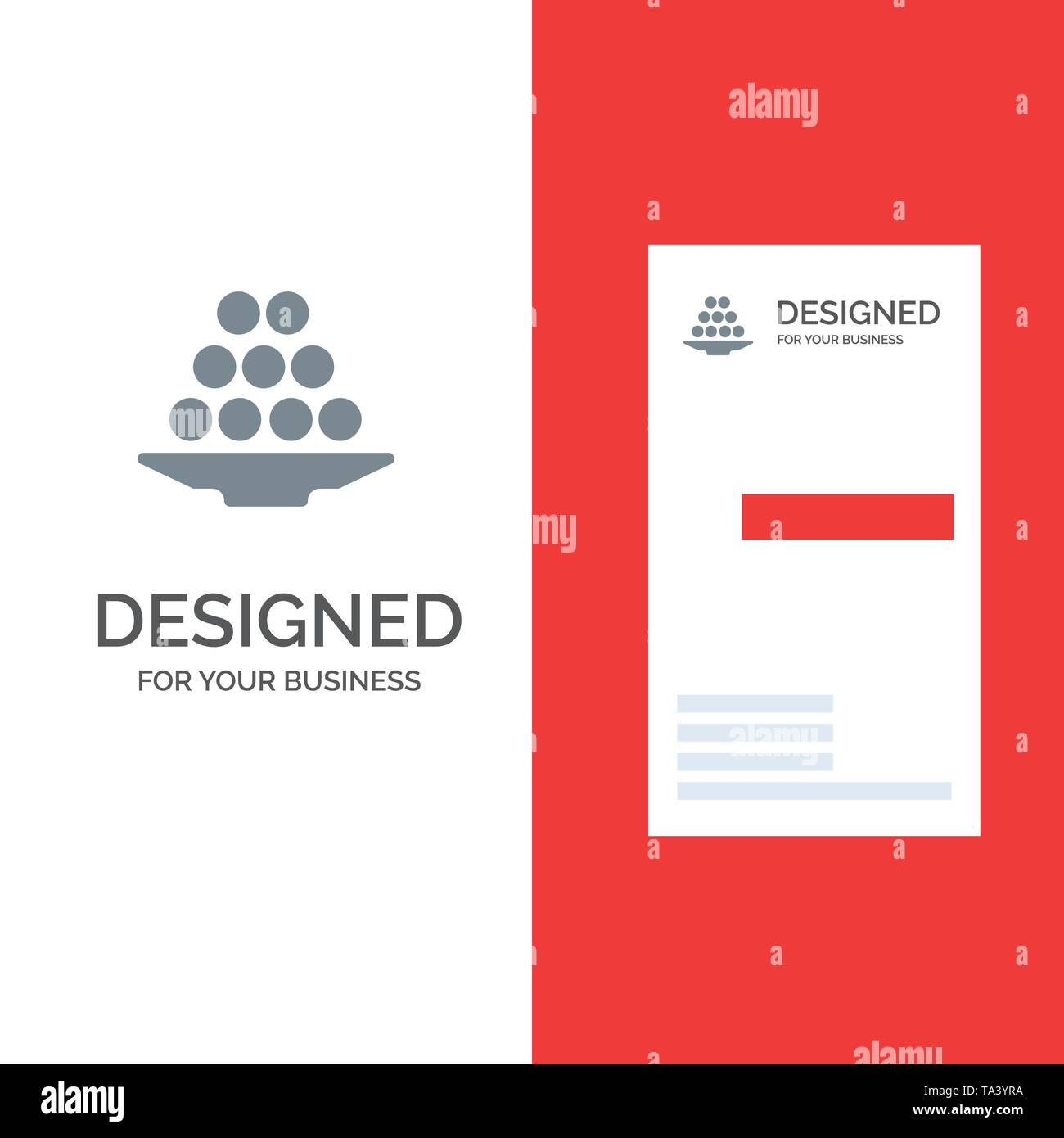 Bowl, Delicacy, Dessert, Indian, Laddu, Sweet, Treat Grey Logo Design and Business Card Template - Stock Image
