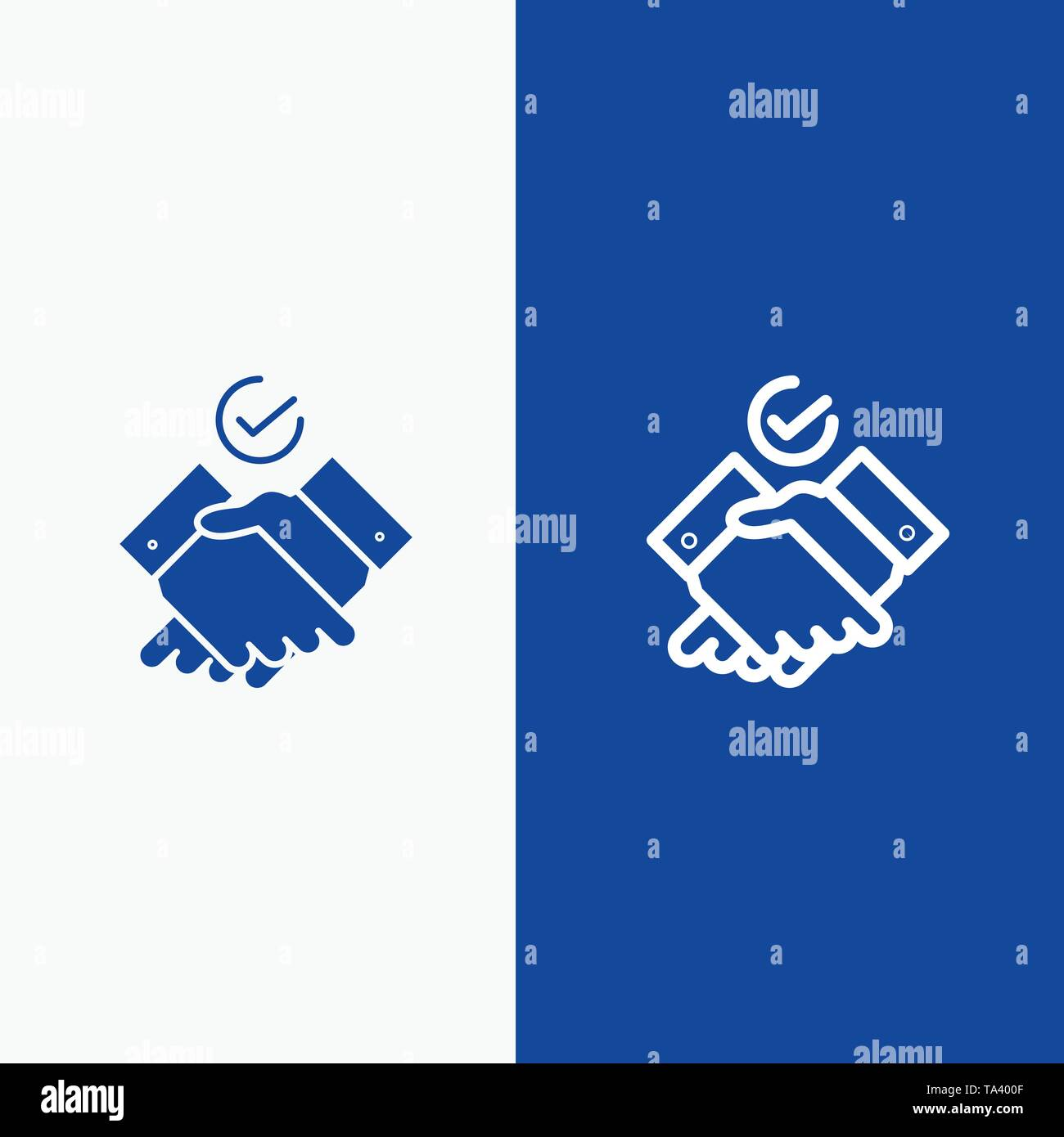 Job, Themes, Work Line and Glyph Solid icon Blue banner Line and Glyph Solid icon Blue banner - Stock Image