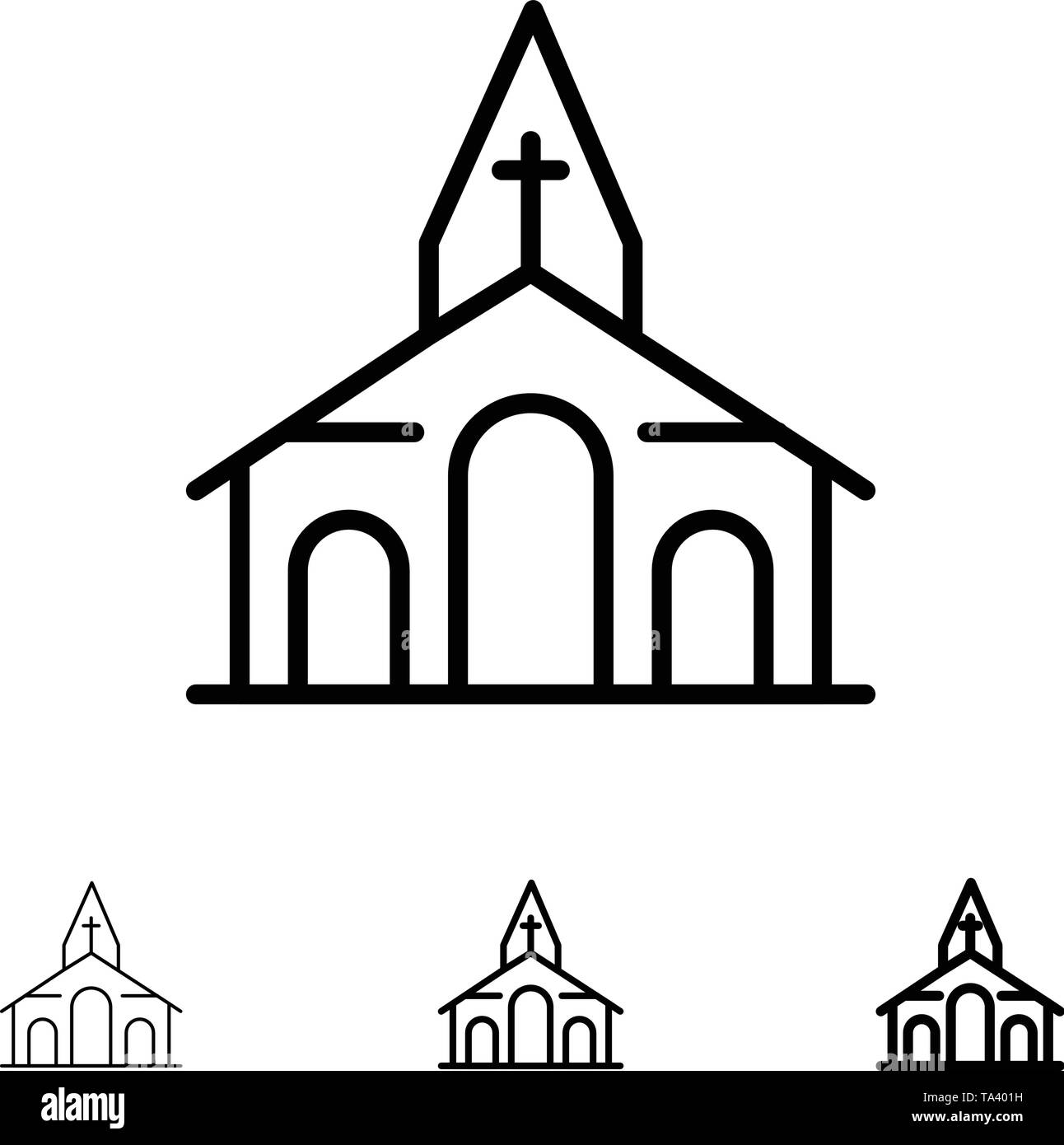 Building, Christmas, Church, Spring Bold and thin black line icon set - Stock Image