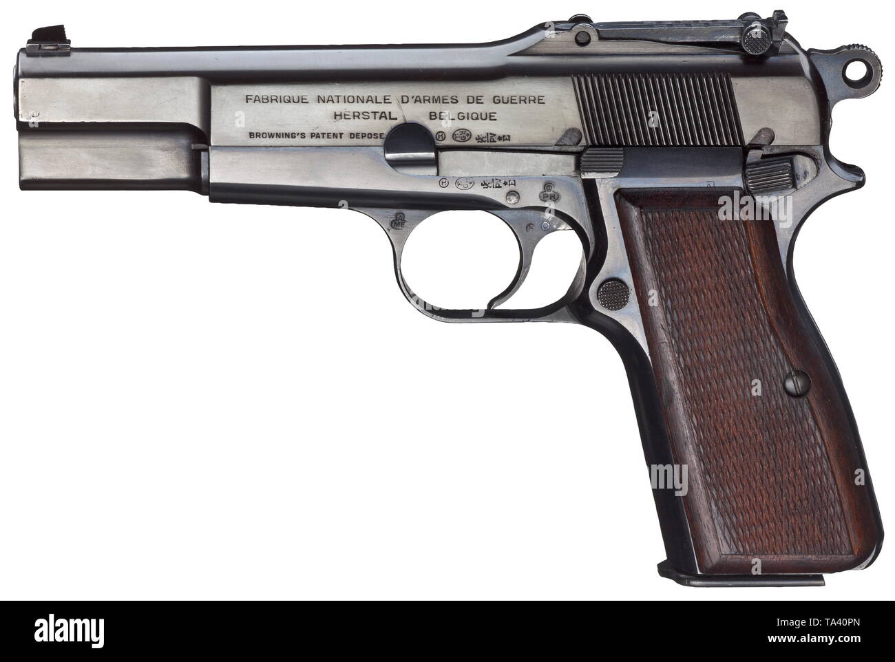 An FN HP Mod  35, military Cal  9 mm Parabellum, no  19510