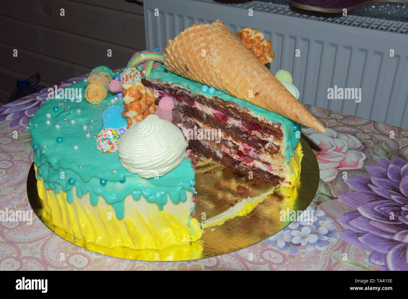 Remarkable Beautiful Birthday Cake In Icing With Fillings Of Fruit Funny Birthday Cards Online Inifodamsfinfo