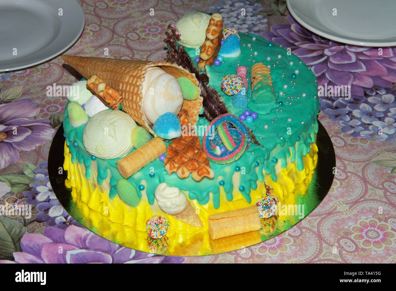 Pleasant Beautiful Birthday Cake In Icing With Fillings Of Fruit Funny Birthday Cards Online Inifodamsfinfo