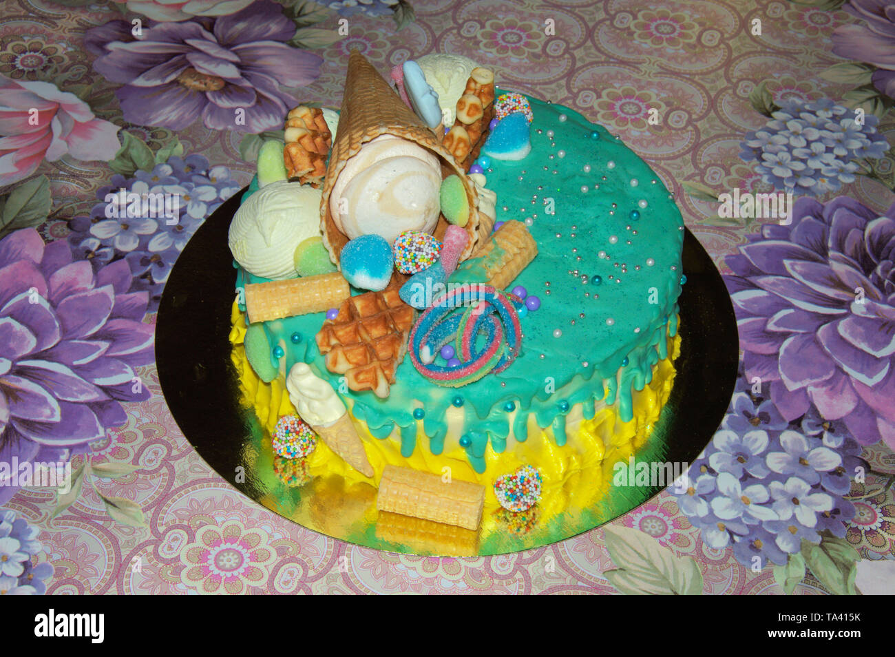 Wondrous Beautiful Birthday Cake In Icing With Fillings Of Fruit Funny Birthday Cards Online Inifodamsfinfo