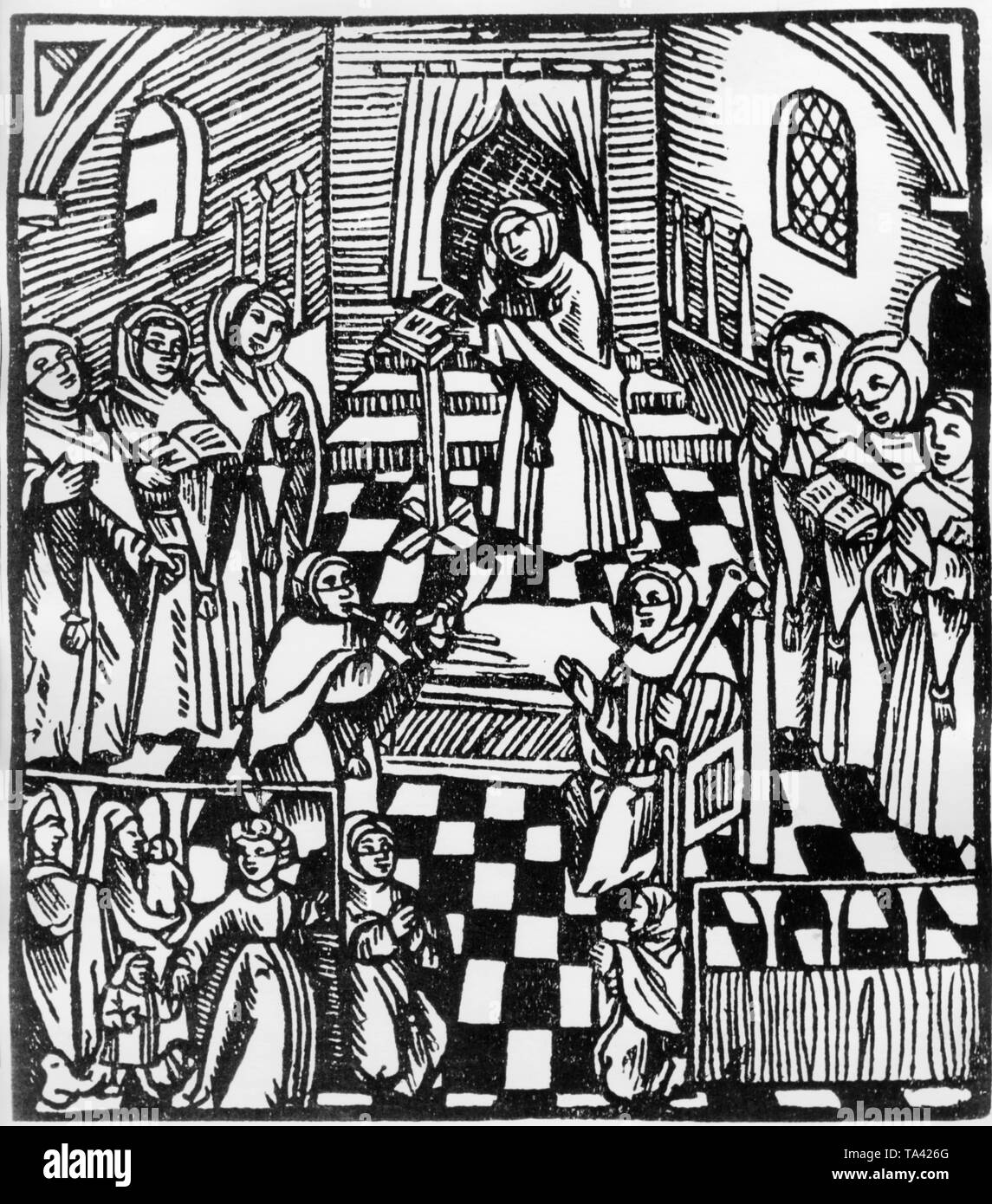 Woodcut from Antonius Margeritha's 'Der gantze Juedisch Glaub' (The Whole Jewish Belief). Antonius Margeritha was the son of a rabbi and converted to Christianity. His work is regarded as a source of early-modern anti-Jewish writings. - Stock Image