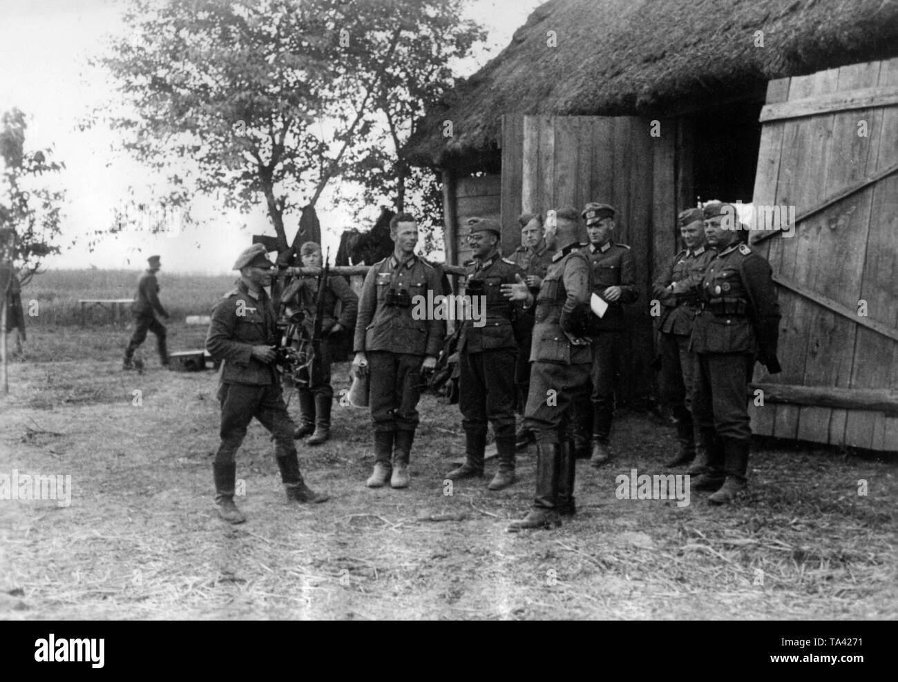 A battalion of the Wehrmacht moved its command post into a barn near the River Bug. The Bug was the border river between the German Reich and the Soviet Union in 1941 and was crossed in the first days of the Operation Barbarossa. Photo: war correspondent Feitl. Stock Photo