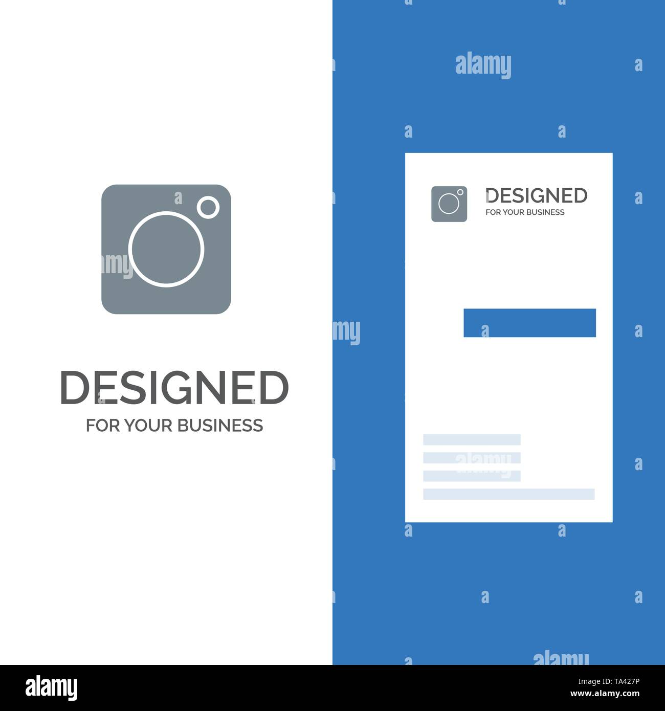 Camera, Instagram, Photo, Social Grey Logo Design and Business Card Template - Stock Image