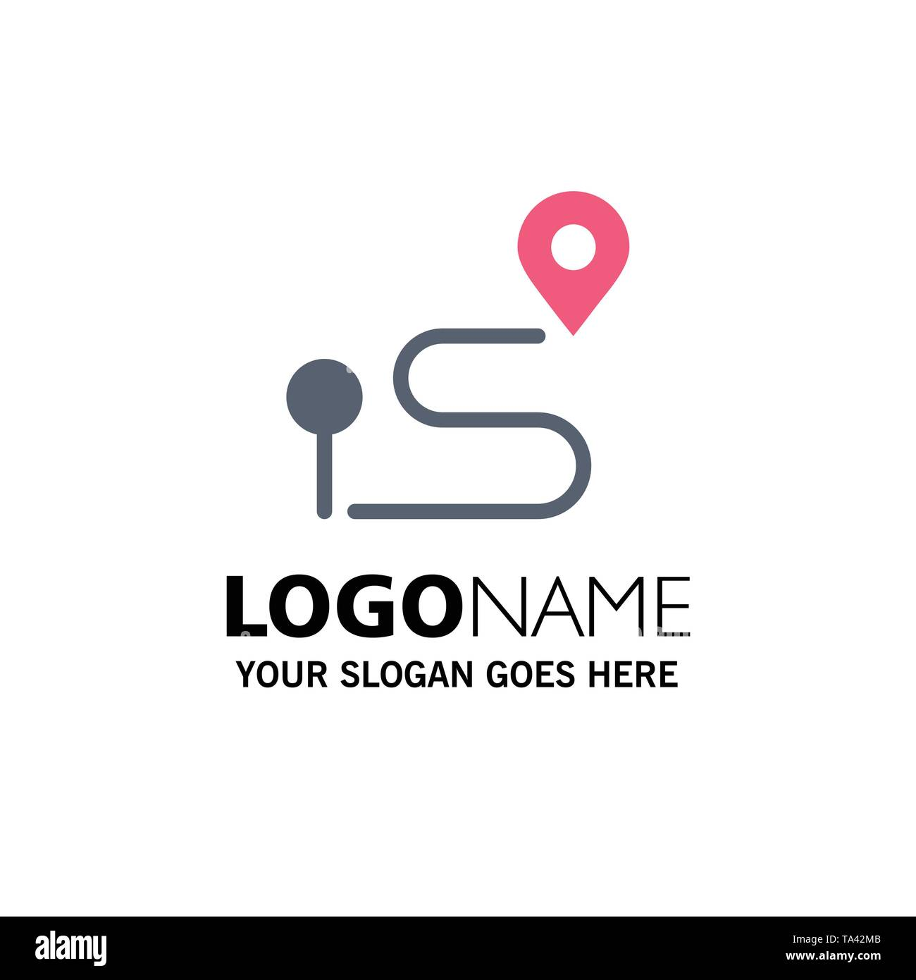 Location, Map, Navigation, Pin Business Logo Template. Flat Color - Stock Image
