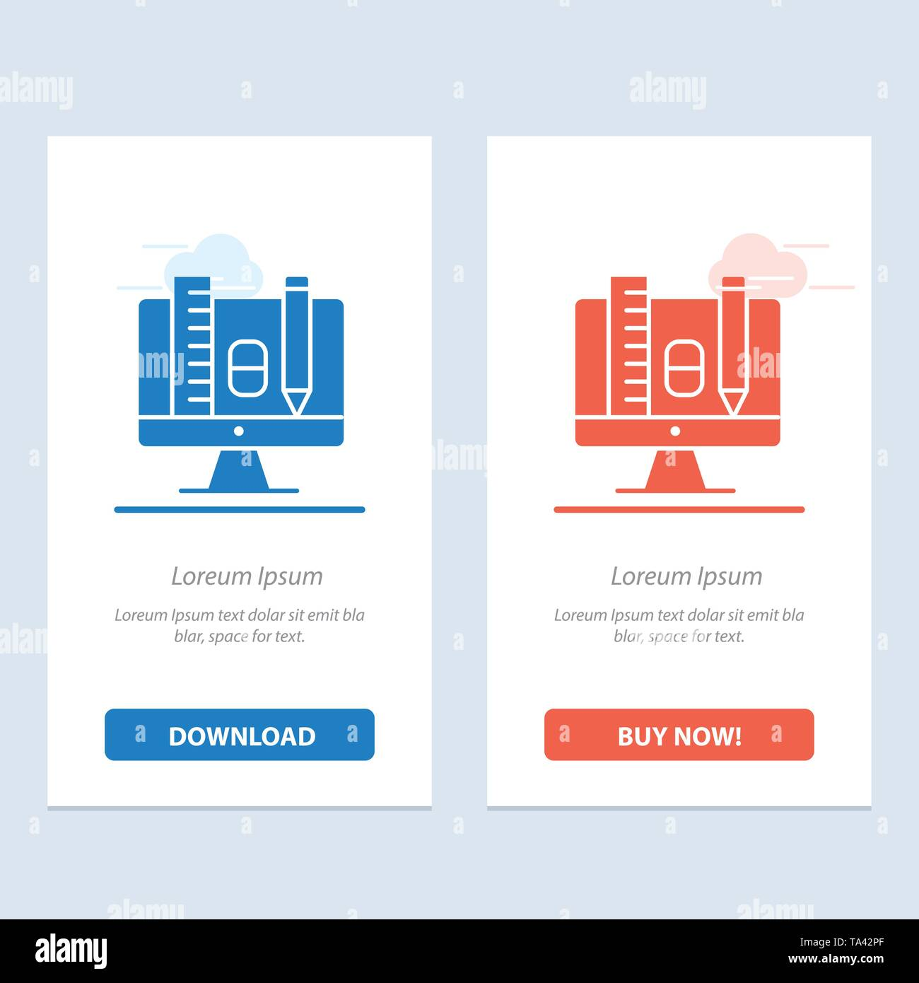 Computer, Education, Scale, Pencil  Blue and Red Download and Buy Now web Widget Card Template - Stock Image