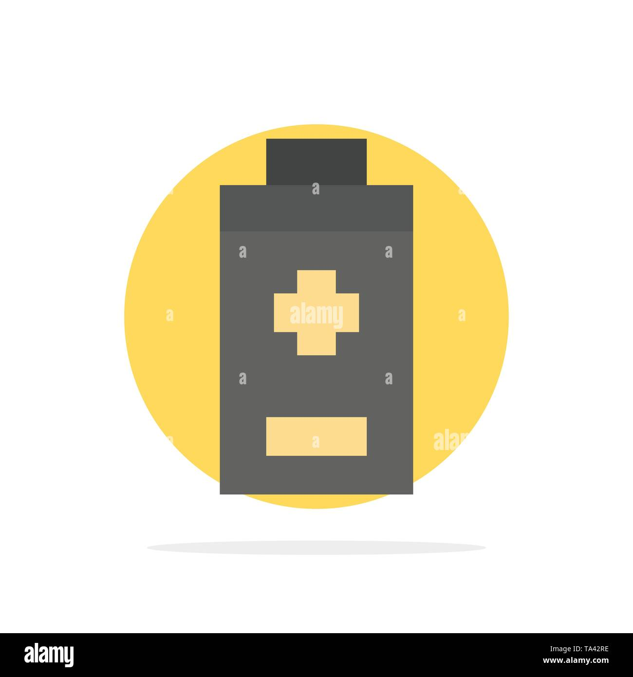 Battery, Minus, Plus Abstract Circle Background Flat color Icon - Stock Image
