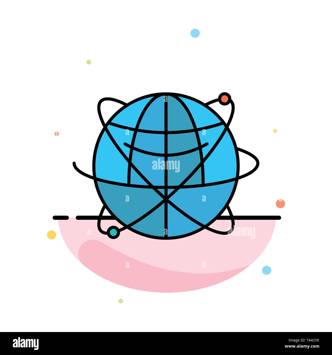 Globe, Business, Data, Global, Internet, Resources, World Abstract Flat Color Icon Template - Stock Image