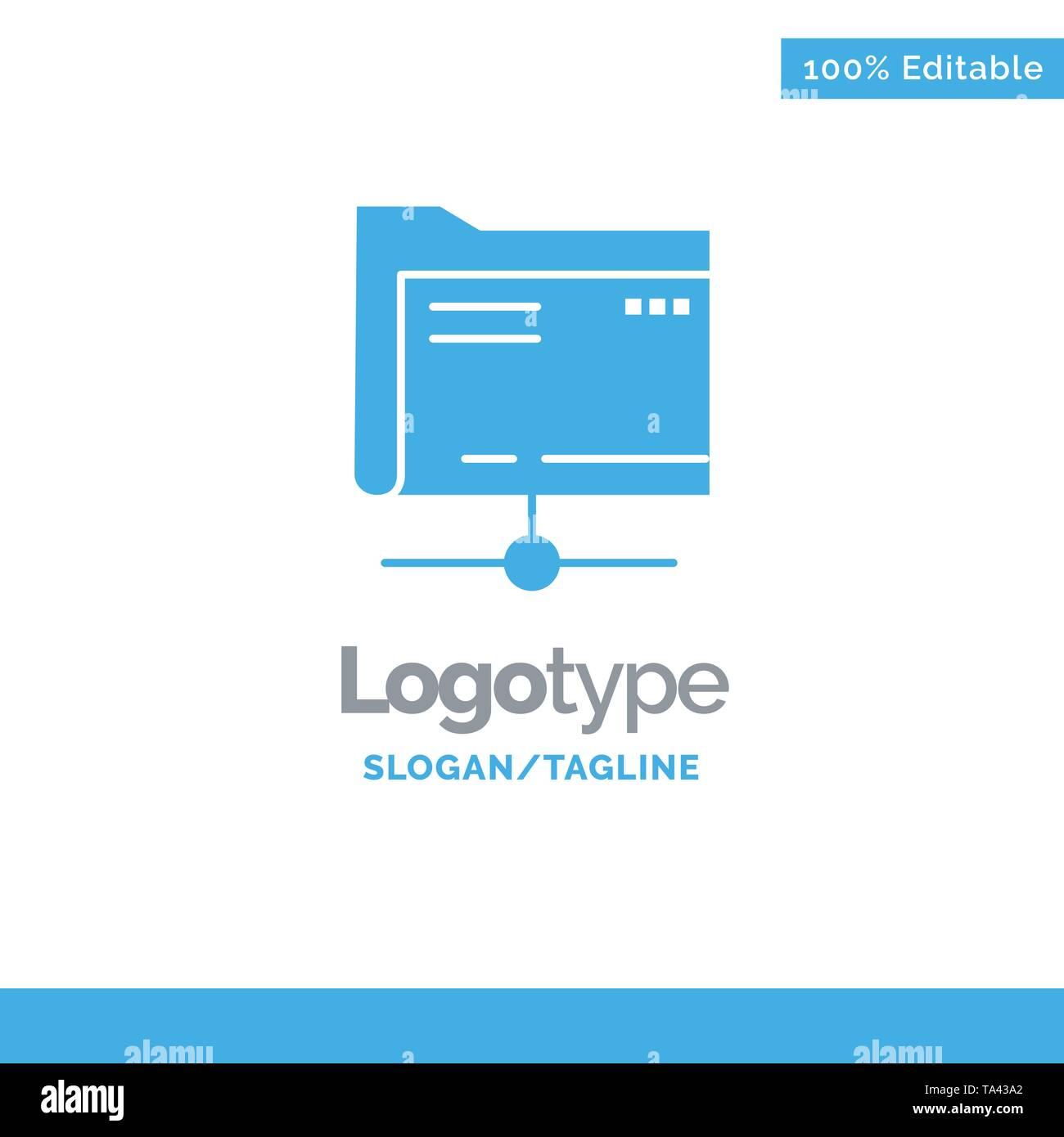Folder, Data, Server, Storage Blue Business Logo Template - Stock Image