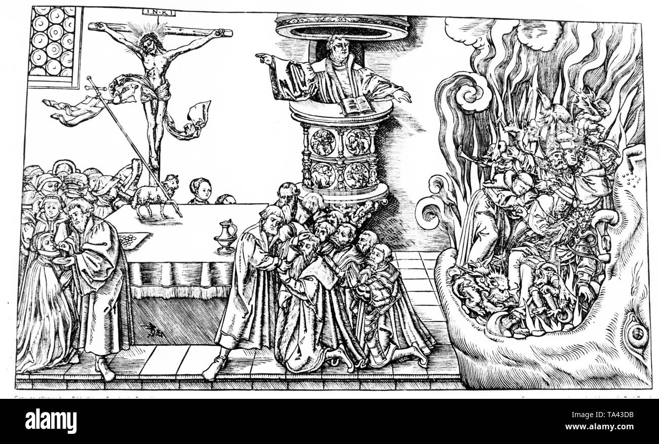 This drawing from the Cranach school shows the most important teachings of Luther after the publication of Martin Luther's major works 'Appeal to the German People', 'On the Babylonian Captivity of the Church' and 'On the Freedom of a Christian'. Luther preaches from his pulpit, the opened Bible lies before him. He condemns the pope, the cardinals and bishops, and the ignorant monks, who are portrayed here according to medieval ideas on the right. Among the recipients of the Communion there are also princes who were Luther's secular support (left). - Stock Image