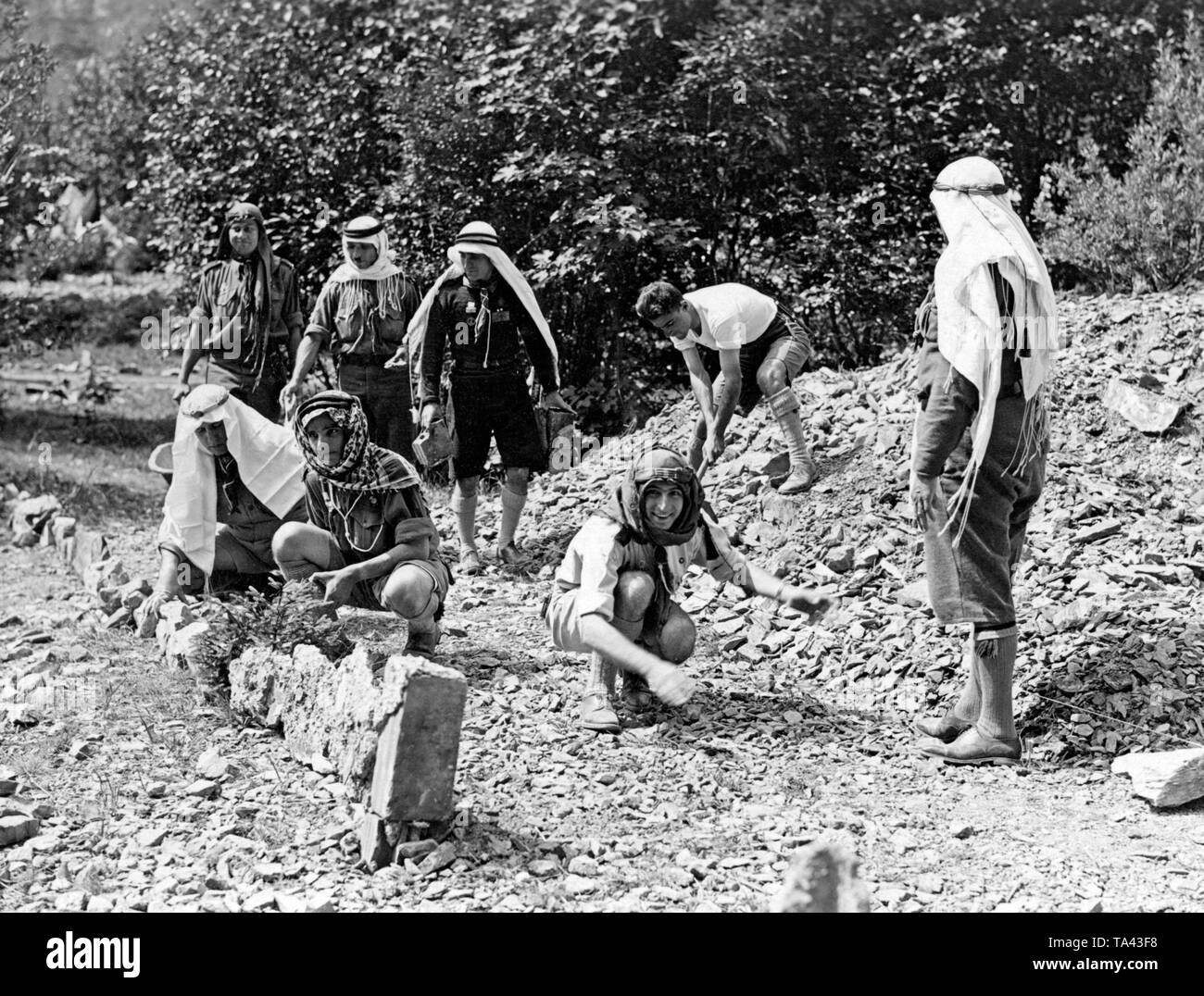 Palestinian scouts at an international meeting for 'Rover' in Kandersteg in Switzerland. - Stock Image
