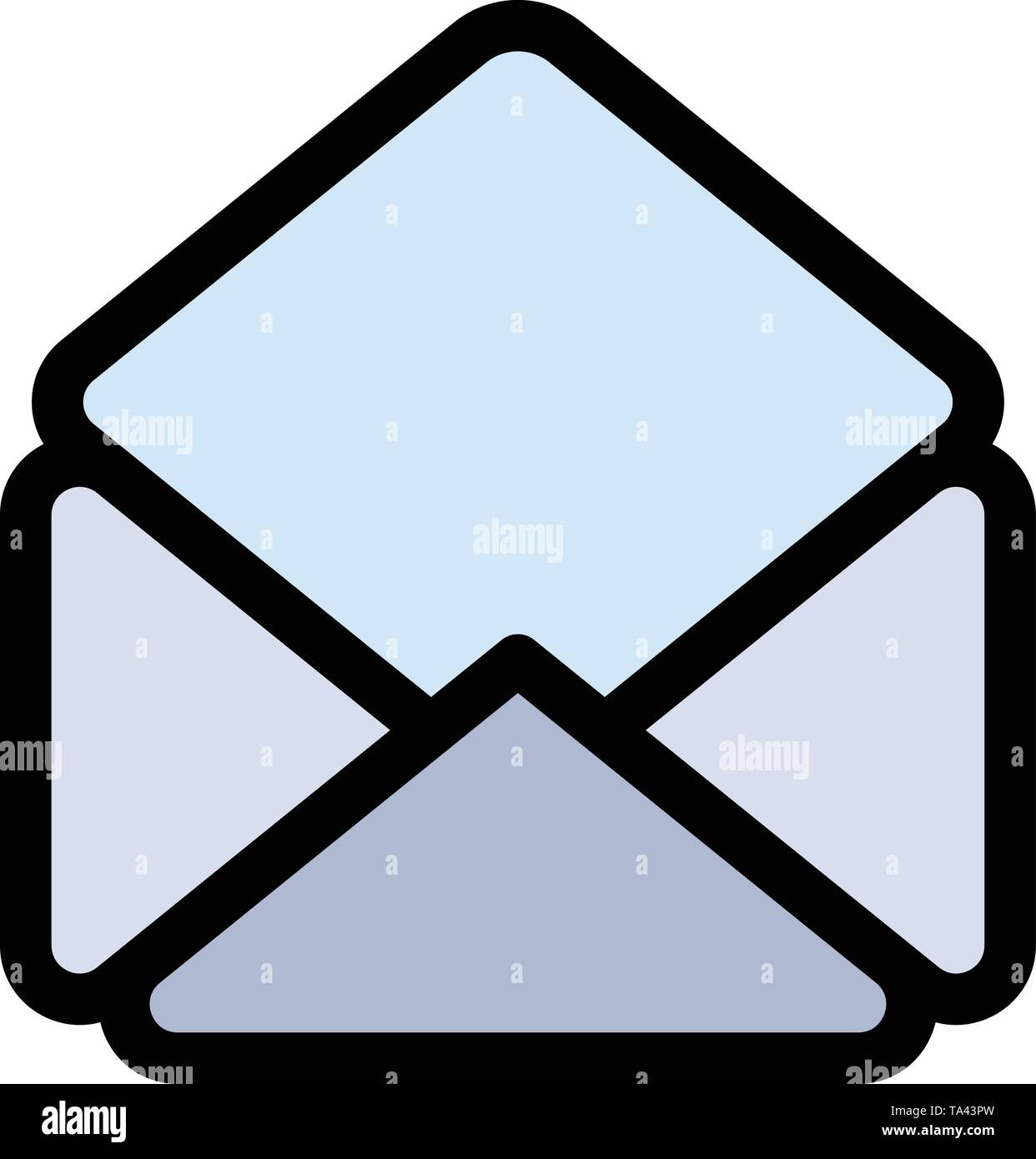 Mail, Email, Open  Flat Color Icon. Vector icon banner Template - Stock Image