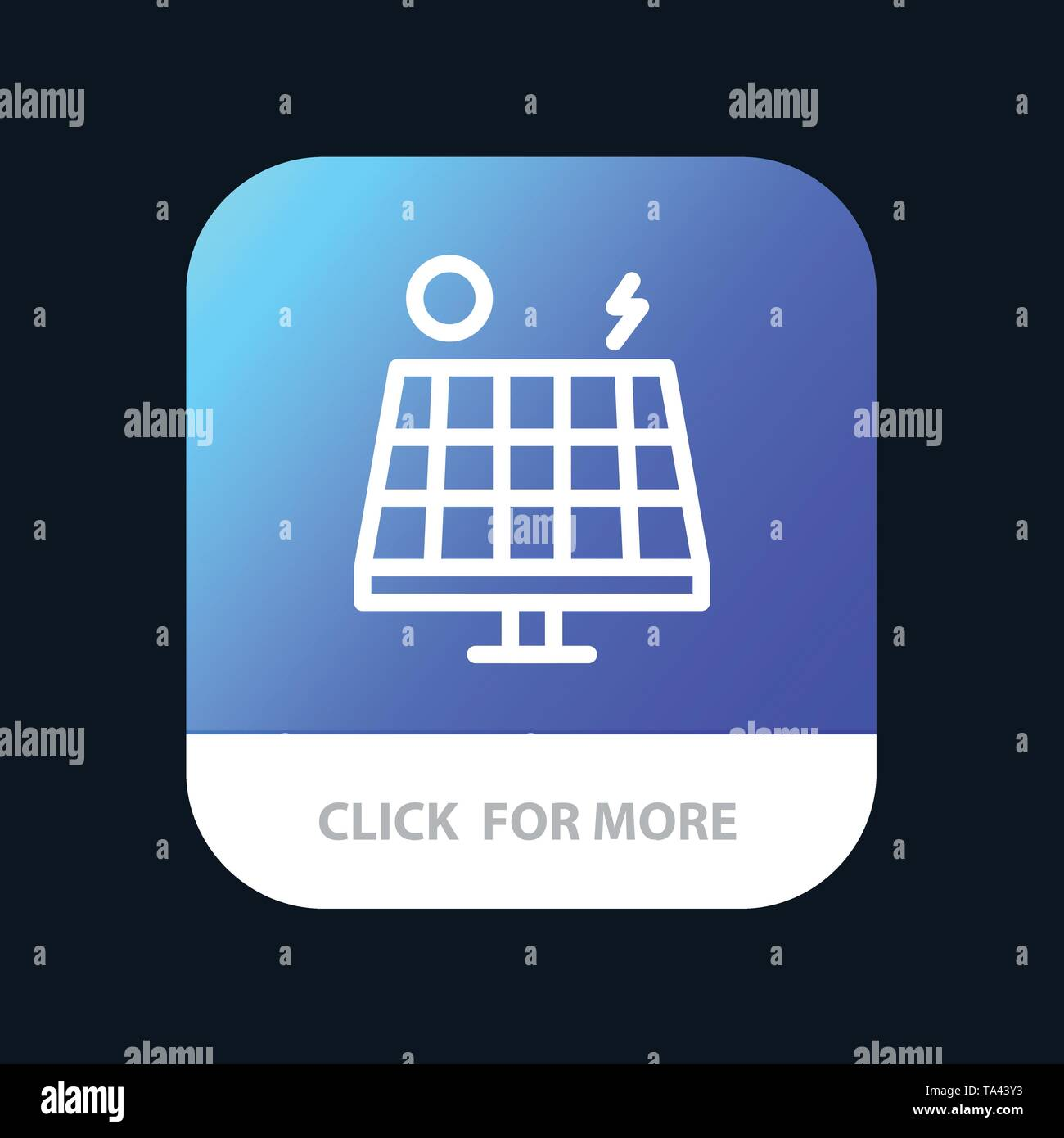 Energy, Environment, Green, Solar Mobile App Button. Android and IOS Line Version - Stock Image