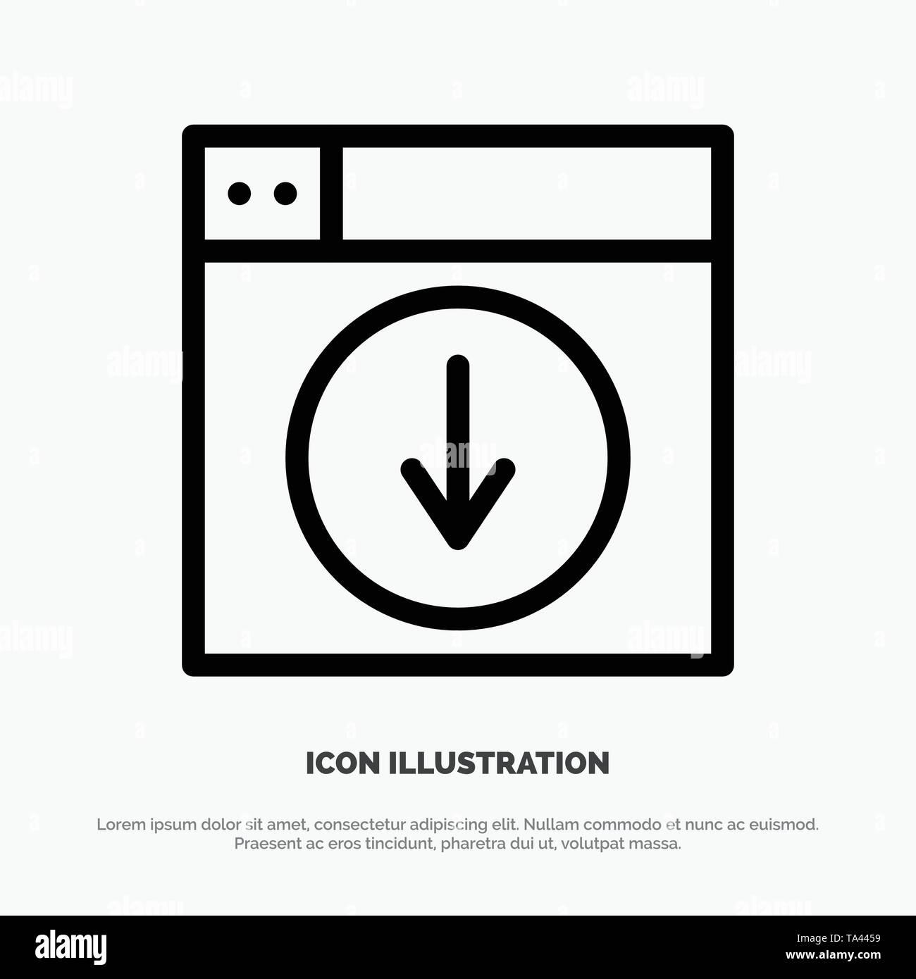 Web, Design, download, down, application Line Icon Vector - Stock Image