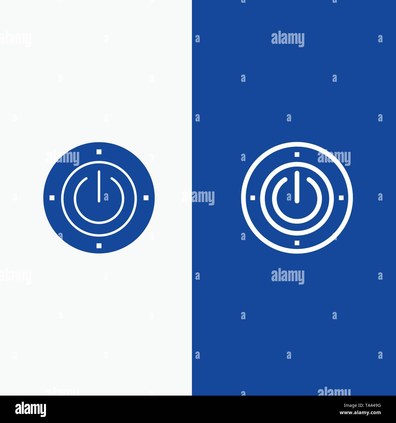 Electricity, Energy, Power, Computing Line and Glyph Solid icon Blue banner - Stock Image