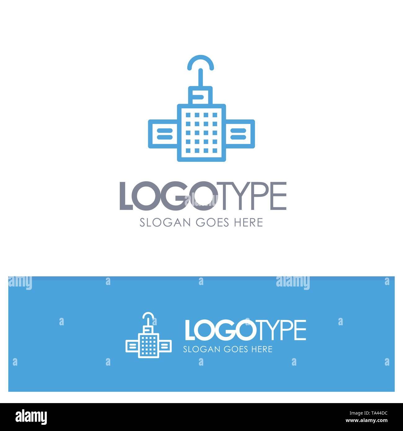 Gps, Navigation, Satellite Blue Outline Logo Place for Tagline - Stock Image