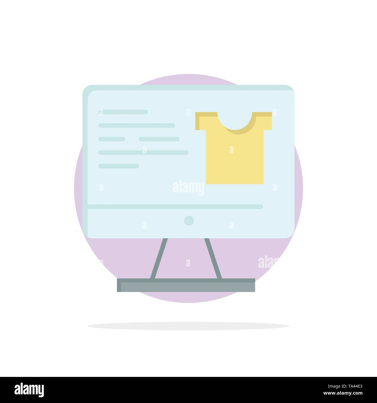 Computer, Screen, Monitor, Shopping Abstract Circle Background Flat color Icon - Stock Image