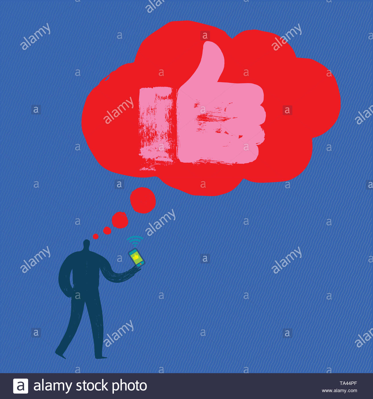 Man with Smartphone thinking about Liking, Hand Like, Vector, Blue Background, Like hand, Grunge texture, One person, Thought bubble, Millennial, Fun - Stock Image