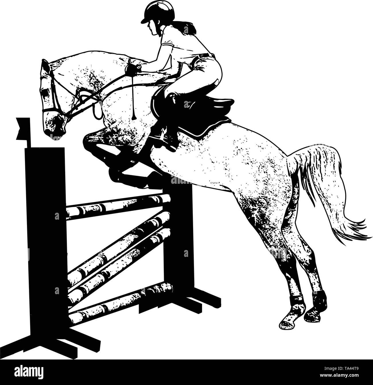 jumping show. horse with jockey jumping a hurdle sketch illustration - vector - Stock Image