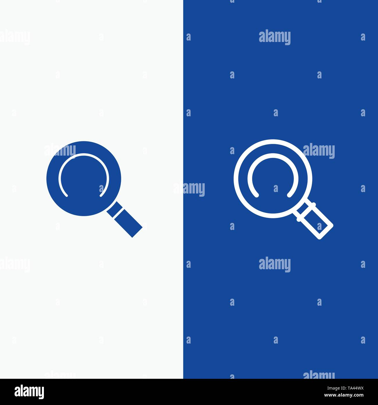 General, Magnifier, Search Line and Glyph Solid icon Blue banner Line and Glyph Solid icon Blue banner - Stock Image