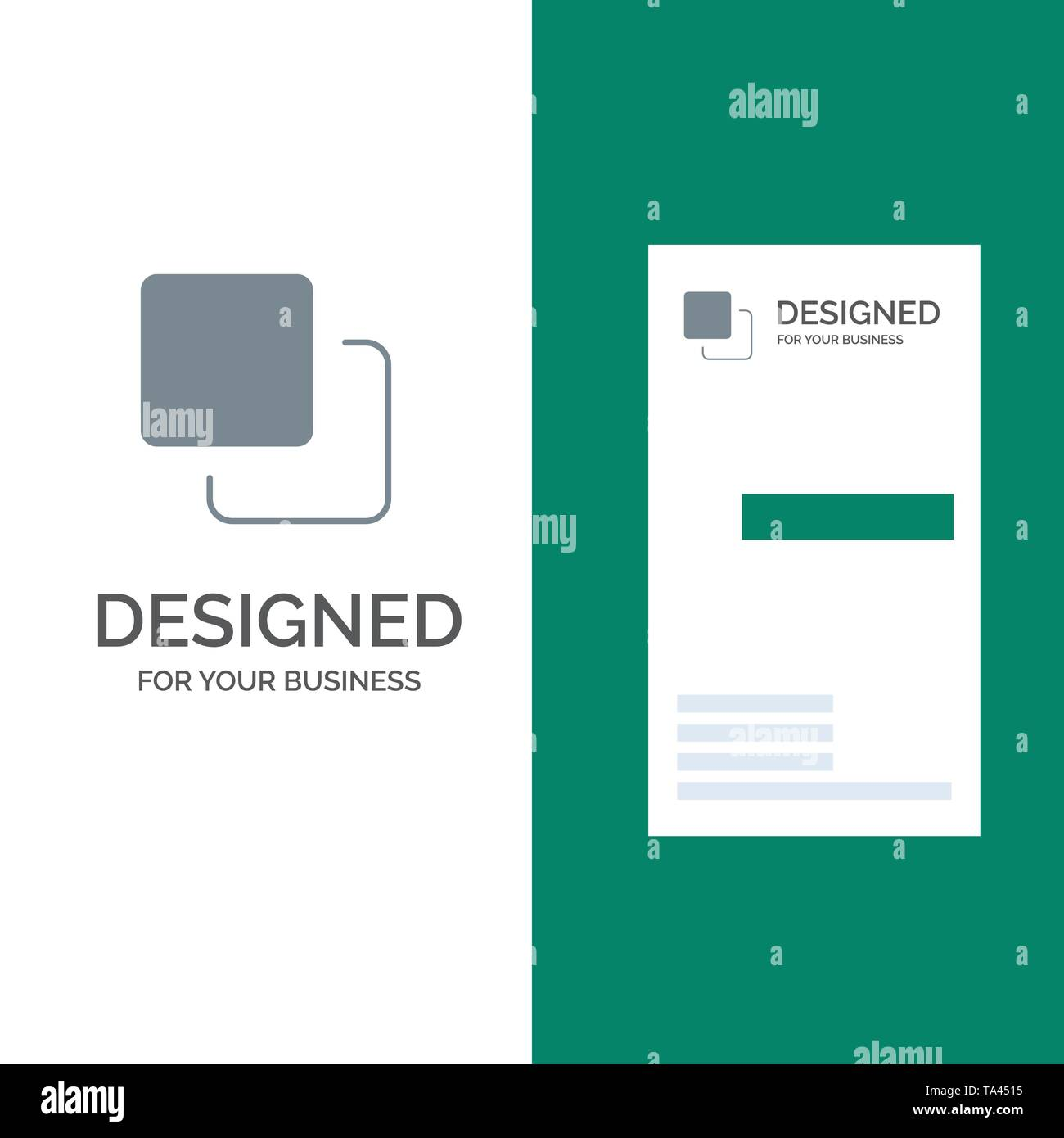 Four, Media, Quadruple, Stack Grey Logo Design and Business Card Template - Stock Image