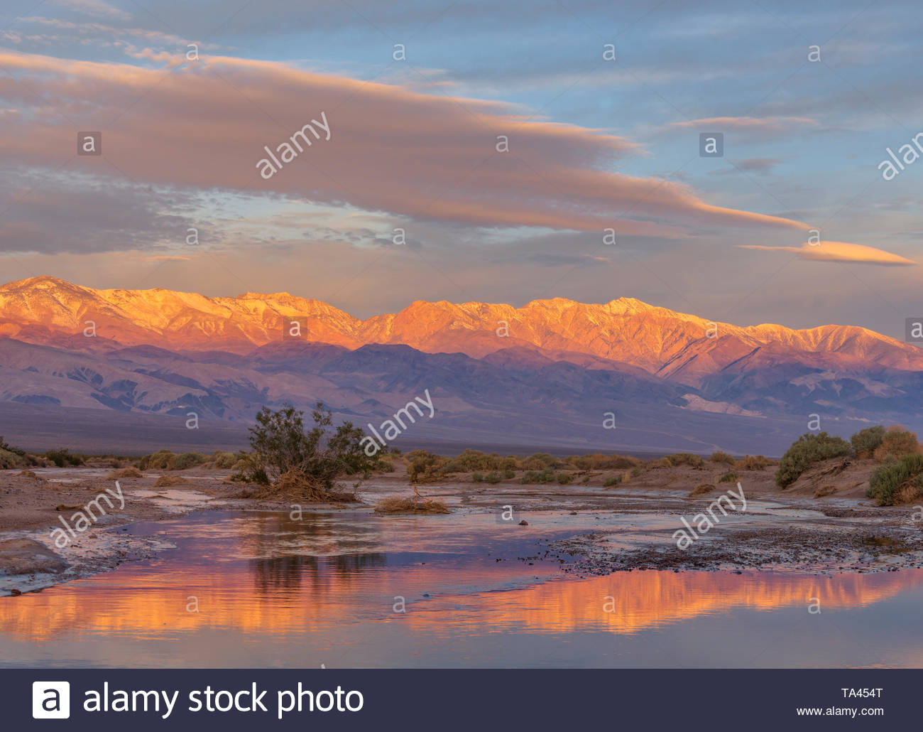 The Panamint Range and Amargosa River at Dawn, Death Valley National Park, California Stock Photo