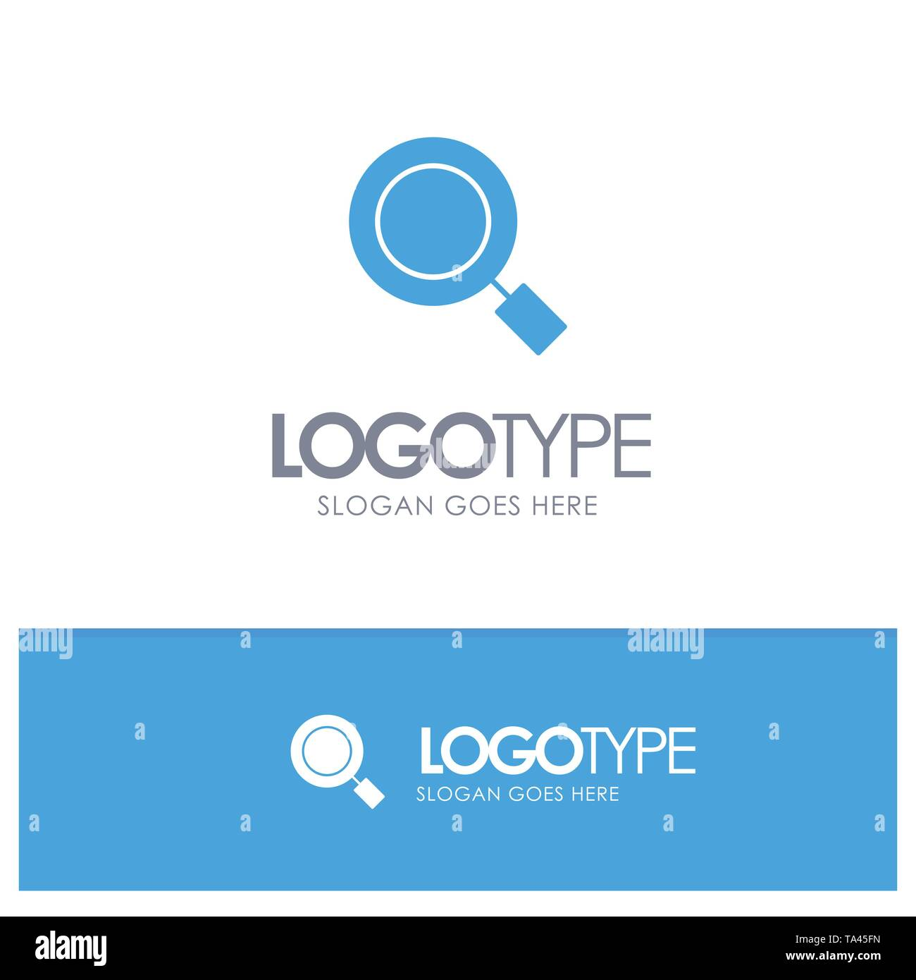 General, Magnifier, Magnify, Search Blue Solid Logo with place for tagline - Stock Image